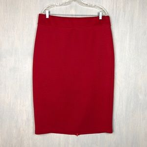 Eloquii red textured stripe midi pencil skirt 18